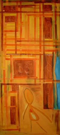 MITEINANDER | Acryl | 151x65cm | 2001