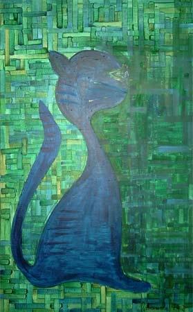 Katze in Blau | Acryl | 97x58cm | 2002