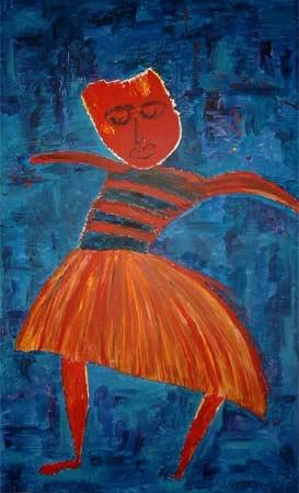Tanz am Abgrund | Acryl | 132x79cm | 2003