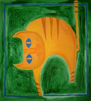 Katze im grüenen Haus | Acryl | 144x130cm | 2004