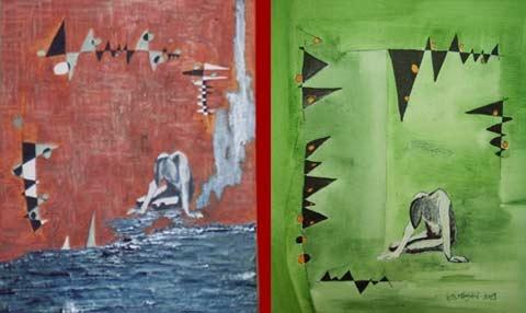 AKT I und II | Acryl 64x54+53x44cm | 2009