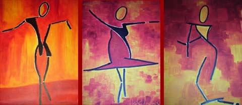 Tanz I bis III | Acryl | 42x26+40x40+40x40cm | 2009