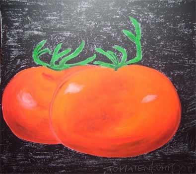 Tomatenkomp L ott | Acryl Öl | 40x40cm | 2009