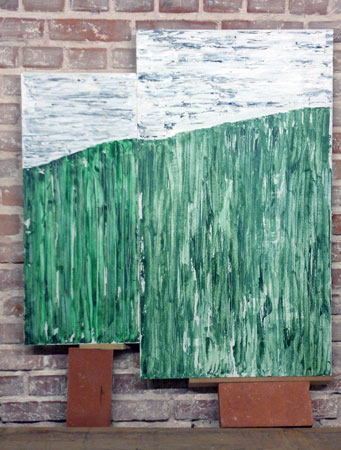 Stilles Grün | Acryl | 99x55+75x33cm | 2011