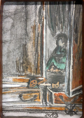 Versteck I | Kohle Acryl | 11x17+58x37cm | 2013
