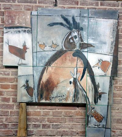 Braune Hühner I | Acryl | 134x150cm | 2013