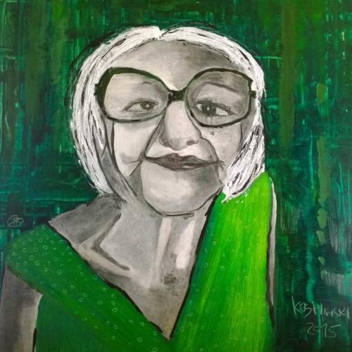 Frau im Grün | Acryl | Kohle | 80x70cm | 2015
